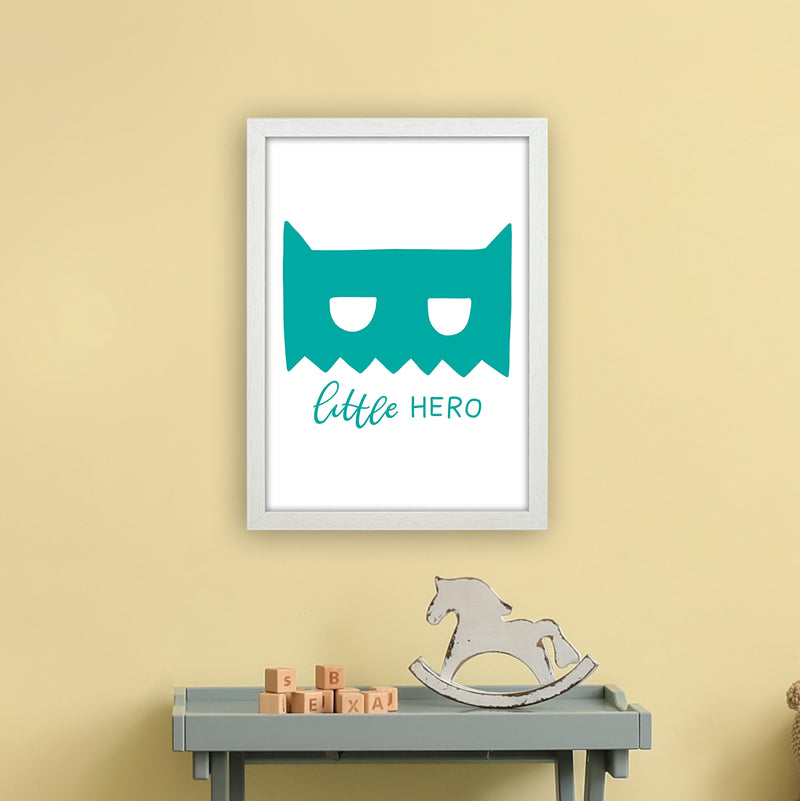Little Hero Mask Teal Super Scandi  Art Print by Pixy Paper A3 Oak Frame