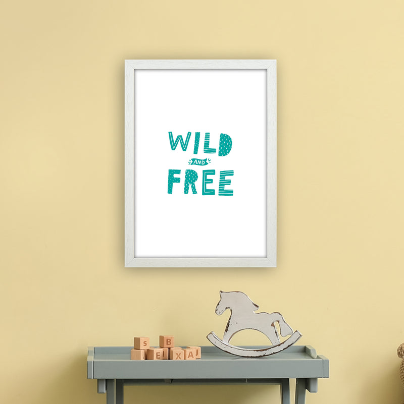 Wild And Free Teal Super Scandi  Art Print by Pixy Paper A3 Oak Frame