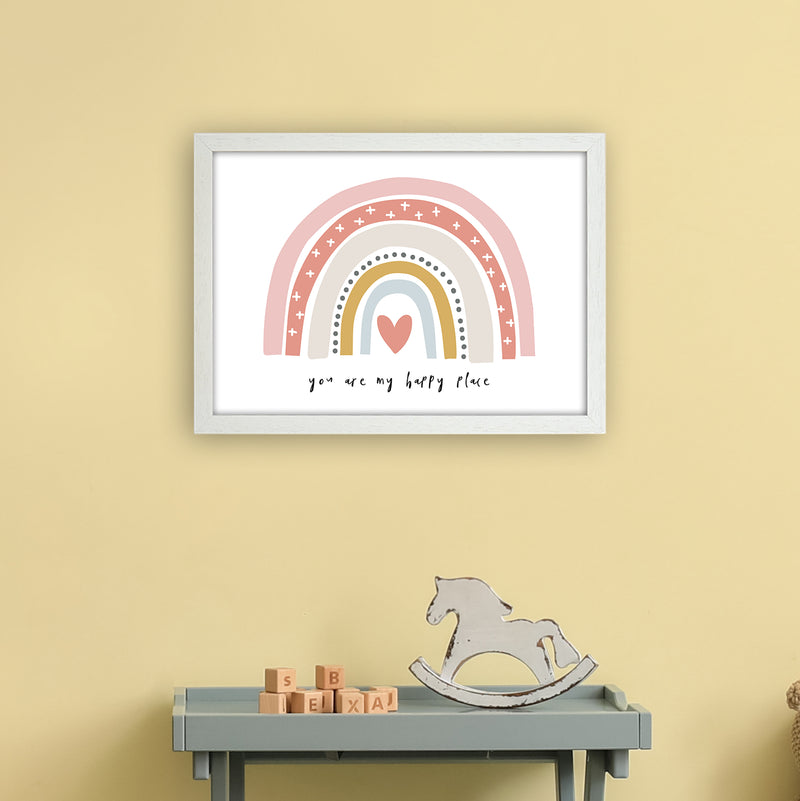 You Are My Happy Place Rainbow  Art Print by Pixy Paper A3 Oak Frame
