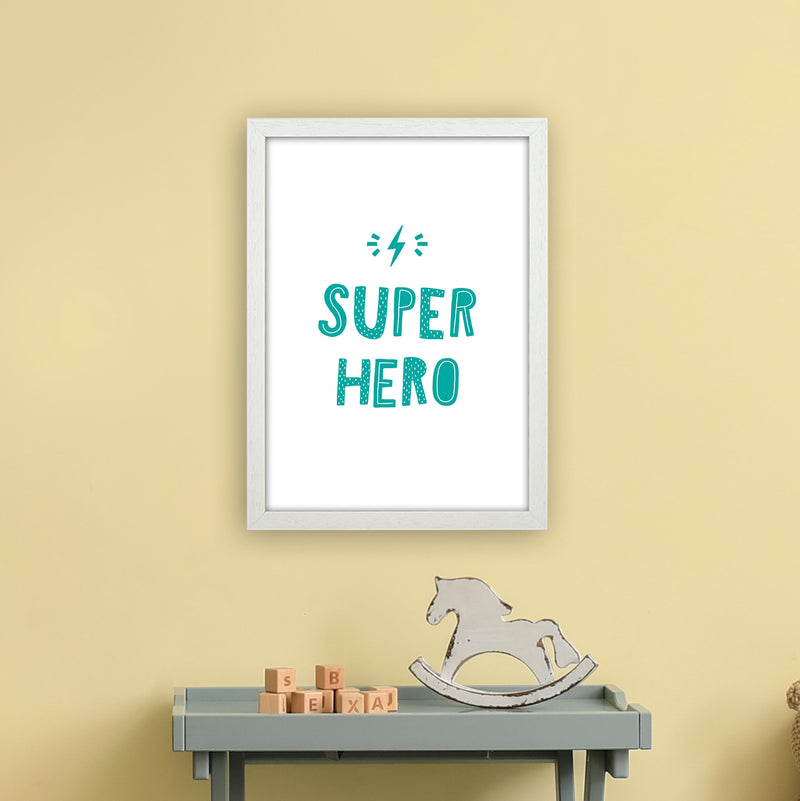 Super Hero Teal Super Scandi  Art Print by Pixy Paper A3 Oak Frame