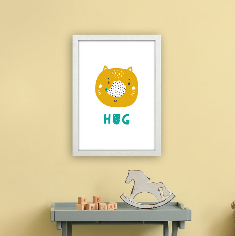 Fox Hug Teal Super Scandi  Art Print by Pixy Paper A3 Oak Frame