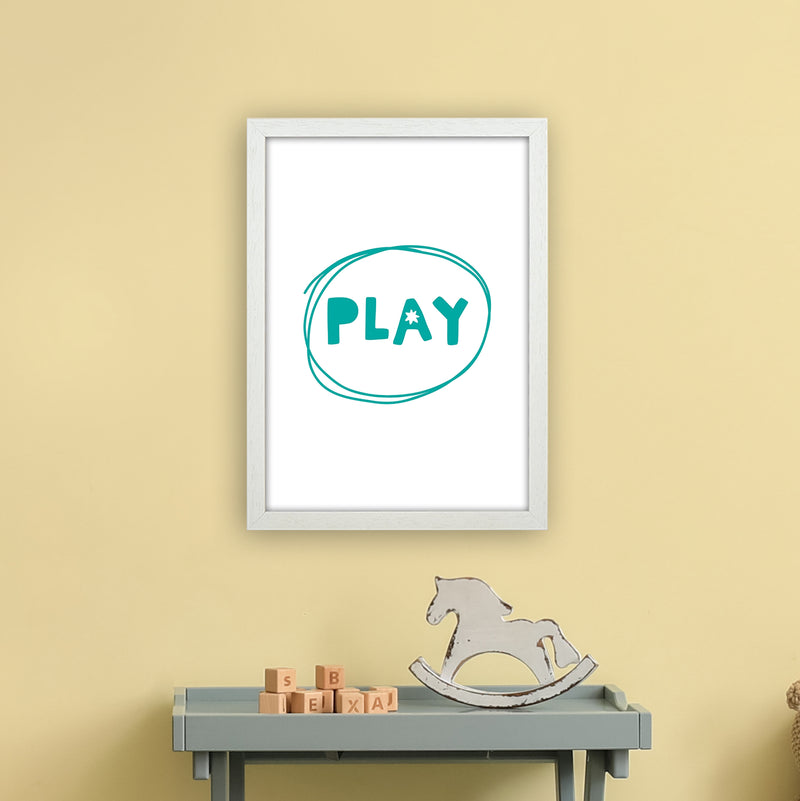 Play Teal Super Scandi  Art Print by Pixy Paper A3 Oak Frame