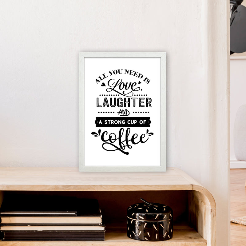 All You Need Is Love And Coffee  Art Print by Pixy Paper A3 Oak Frame