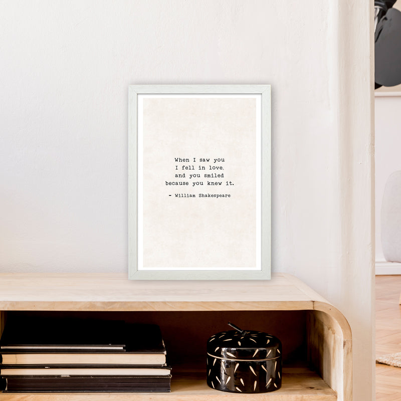 When I Saw You - Shakespeare  Art Print by Pixy Paper A3 Oak Frame