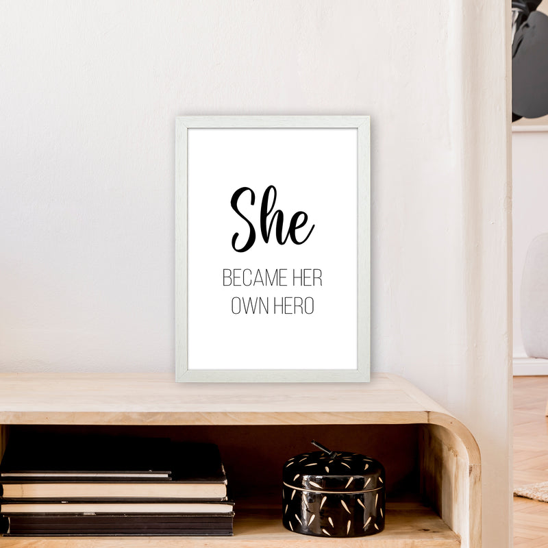 She Became Her Own Hero  Art Print by Pixy Paper A3 Oak Frame