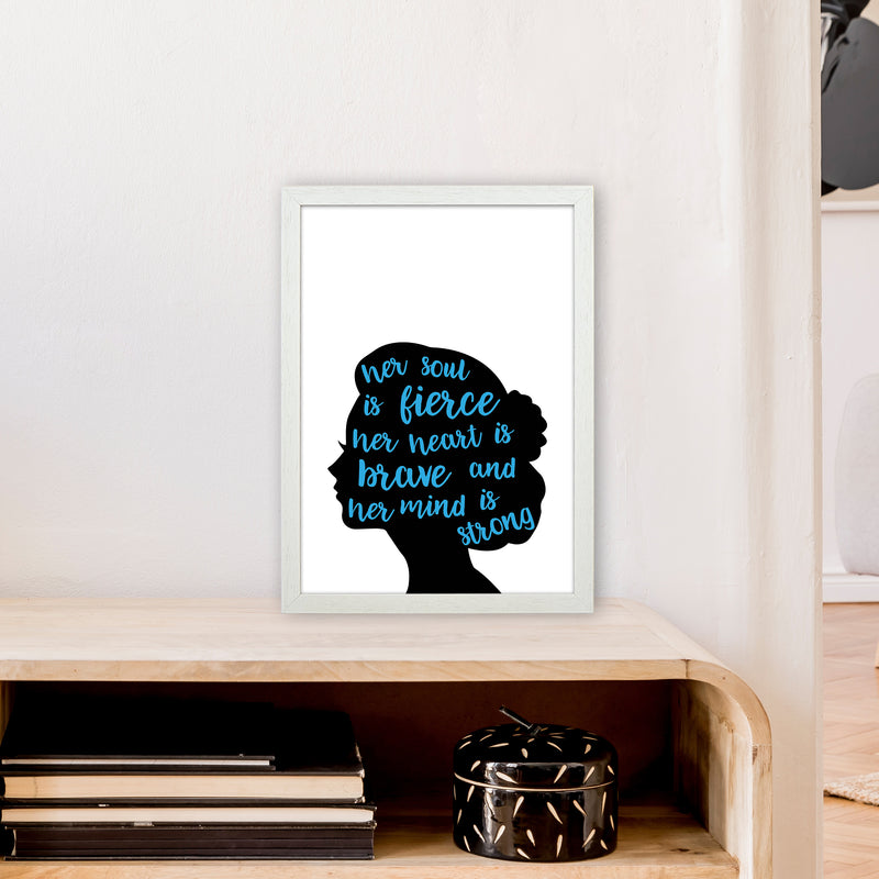 Her Soul Is Fierce Blue  Art Print by Pixy Paper A3 Oak Frame