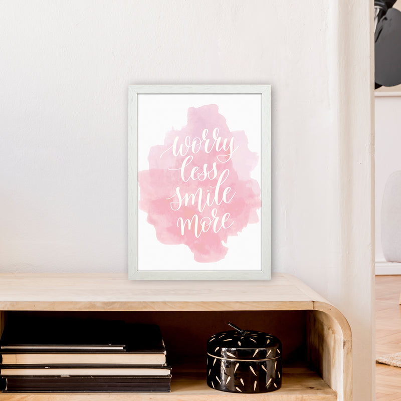 Worry Less Smile More  Art Print by Pixy Paper A3 Oak Frame