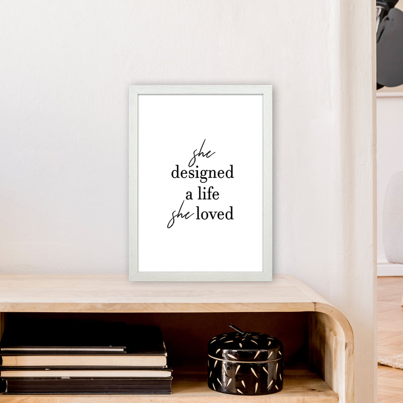 She Designed A Life  Art Print by Pixy Paper A3 Oak Frame