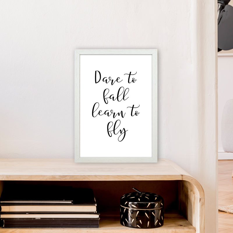 Dare To Fall  Art Print by Pixy Paper A3 Oak Frame