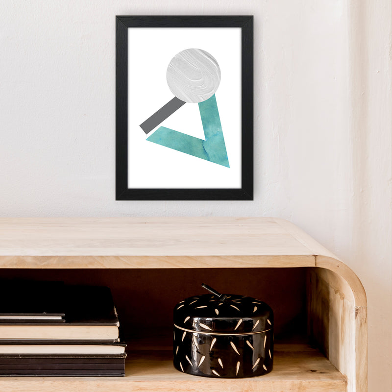 Marble Teal And Silver 3 Art Print by Pixy Paper A4 White Frame