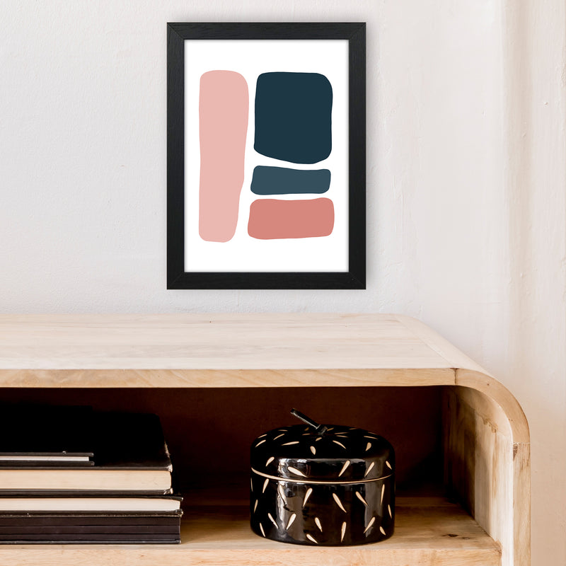 Pink And Navy Abstract Stones 3 Art Print by Pixy Paper A4 White Frame