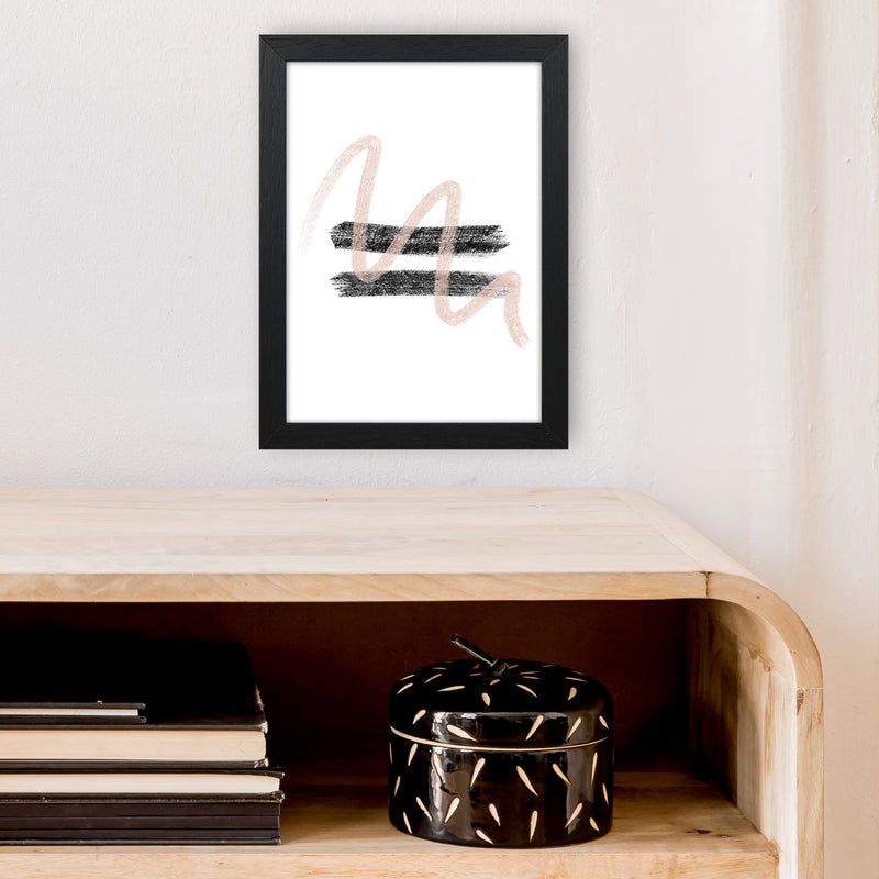 Dalia Chalk Pink And Black Line Contrast  Art Print by Pixy Paper A4 White Frame