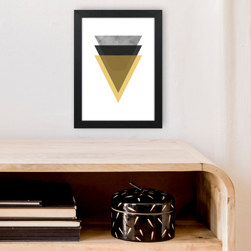 Geometric Mustard And Black Triangles  Art Print by Pixy Paper A4 White Frame