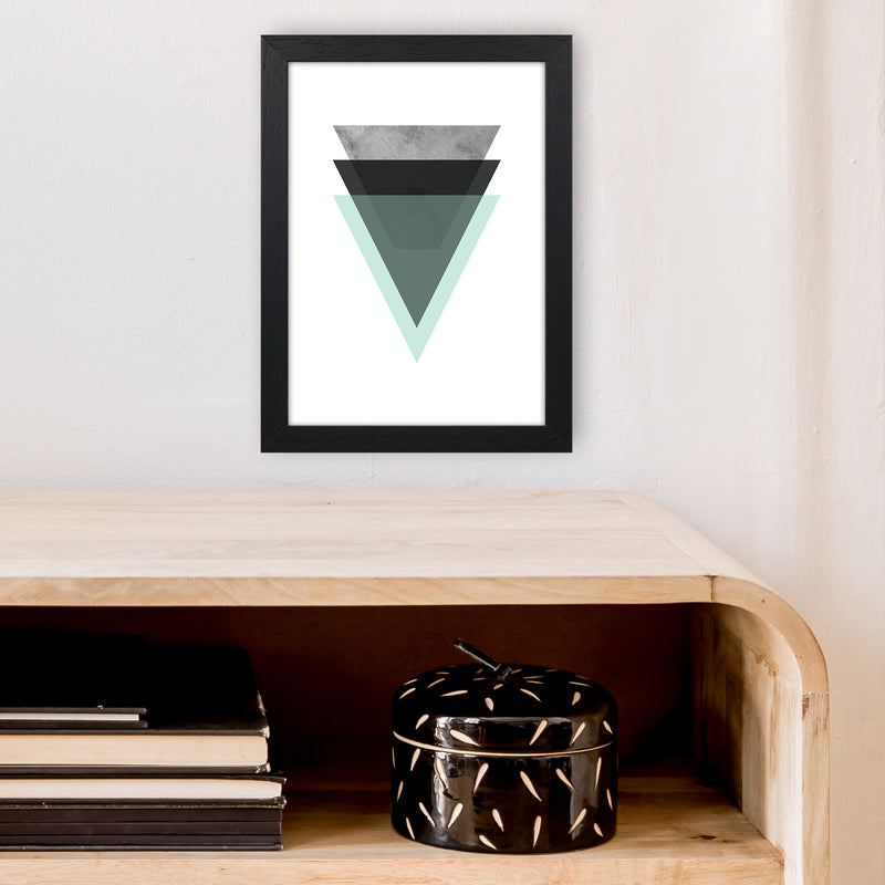 Geometric Mint And Black Triangles  Art Print by Pixy Paper A4 White Frame