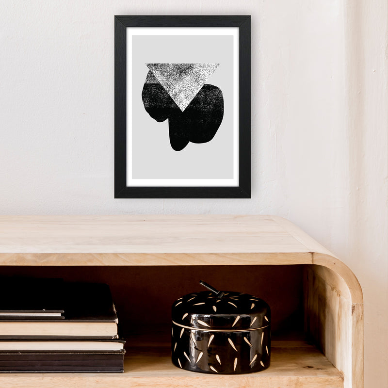 Graffiti Black And Grey Triangle  Art Print by Pixy Paper A4 White Frame