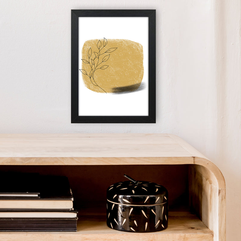 Dalia Chalk Gold Floral Square  Art Print by Pixy Paper A4 White Frame