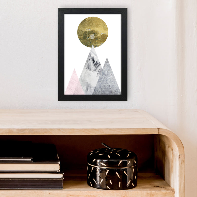 Luna Gold Moon And Mountains  Art Print by Pixy Paper A4 White Frame