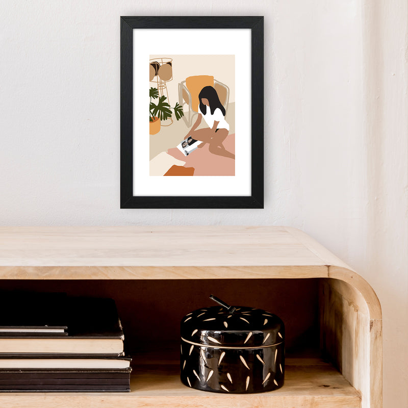 Mica Girl With Magazine N4  Art Print by Pixy Paper A4 White Frame