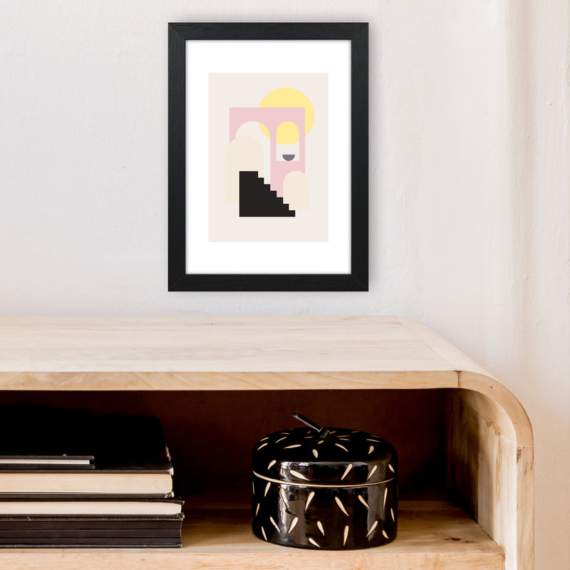 Mila Pink Stairs To Sun N6  Art Print by Pixy Paper A4 White Frame