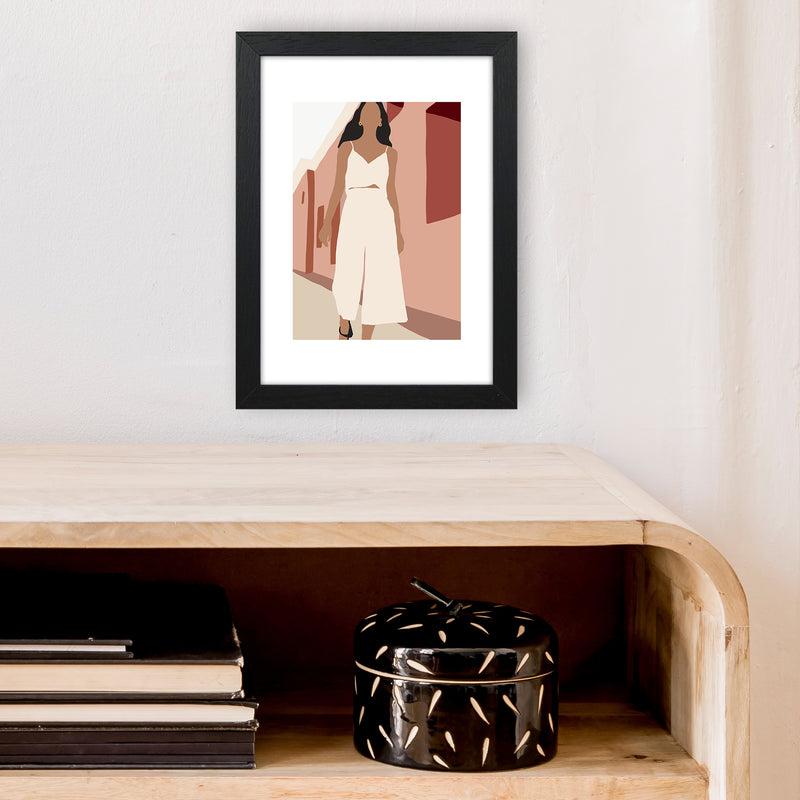 Mica Girl In Street N7  Art Print by Pixy Paper A4 White Frame