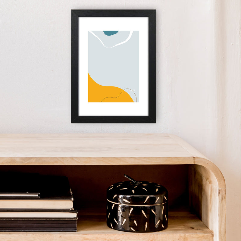 Mita Teal Abstract N21  Art Print by Pixy Paper A4 White Frame