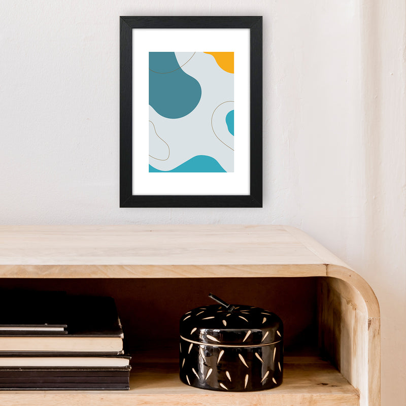 Mita Teal Abstract N16  Art Print by Pixy Paper A4 White Frame