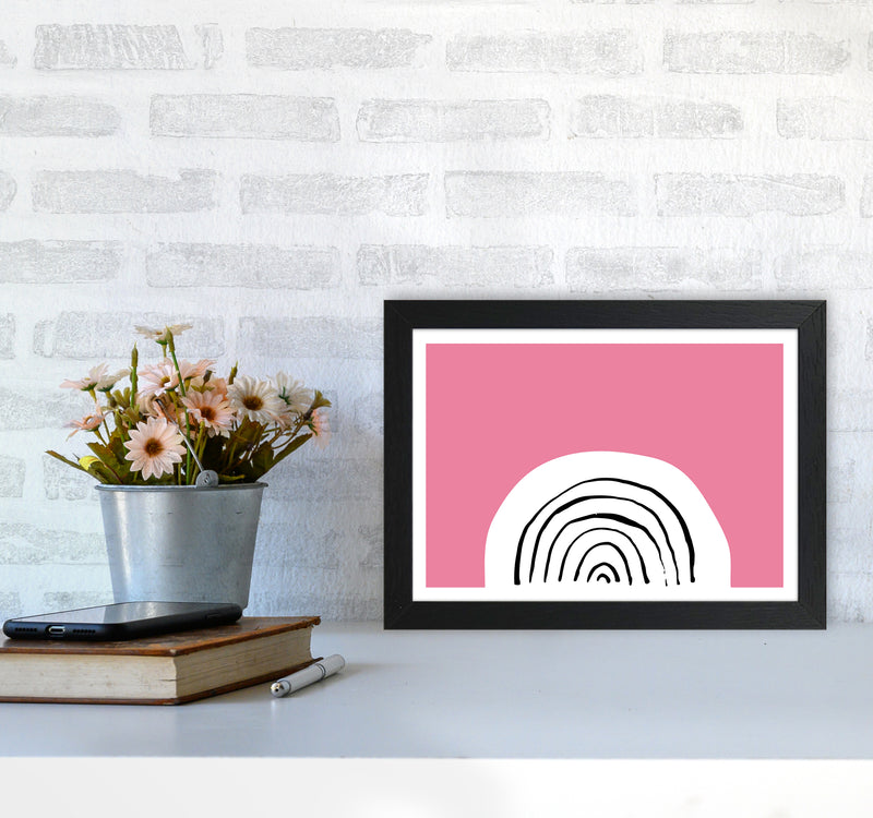 Pink Rainbow Neon Funk  Art Print by Pixy Paper A4 White Frame
