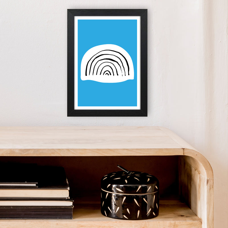 Blue Rainbow Neon Funk  Art Print by Pixy Paper A4 White Frame