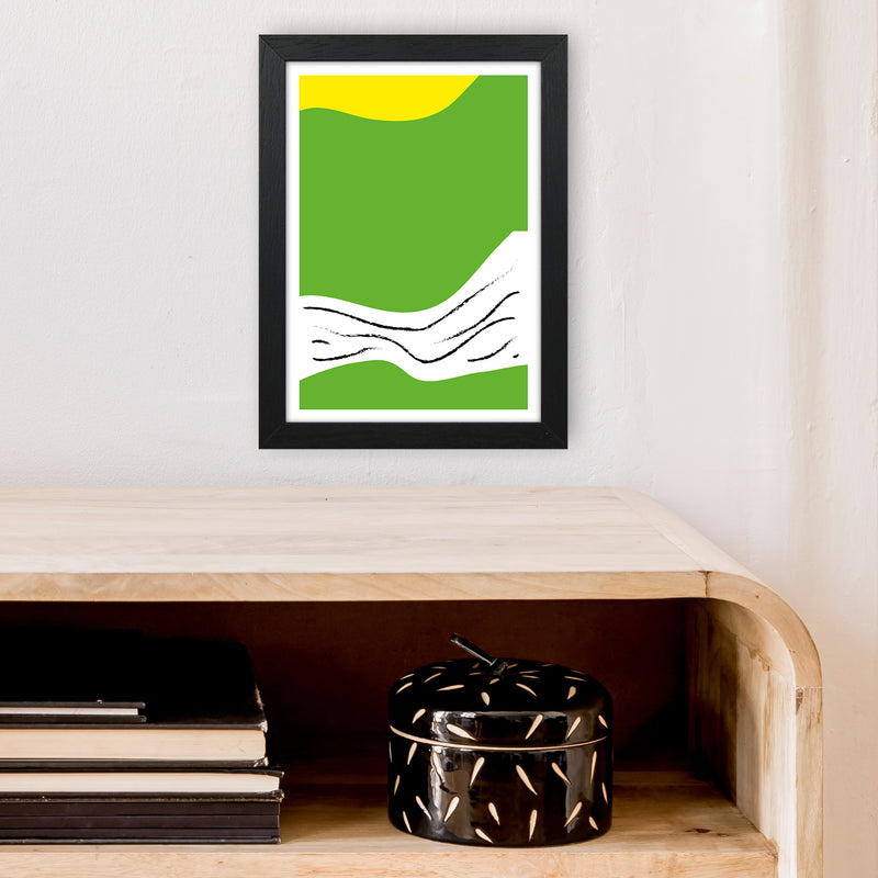 Green Lines Neon Funk  Art Print by Pixy Paper A4 White Frame