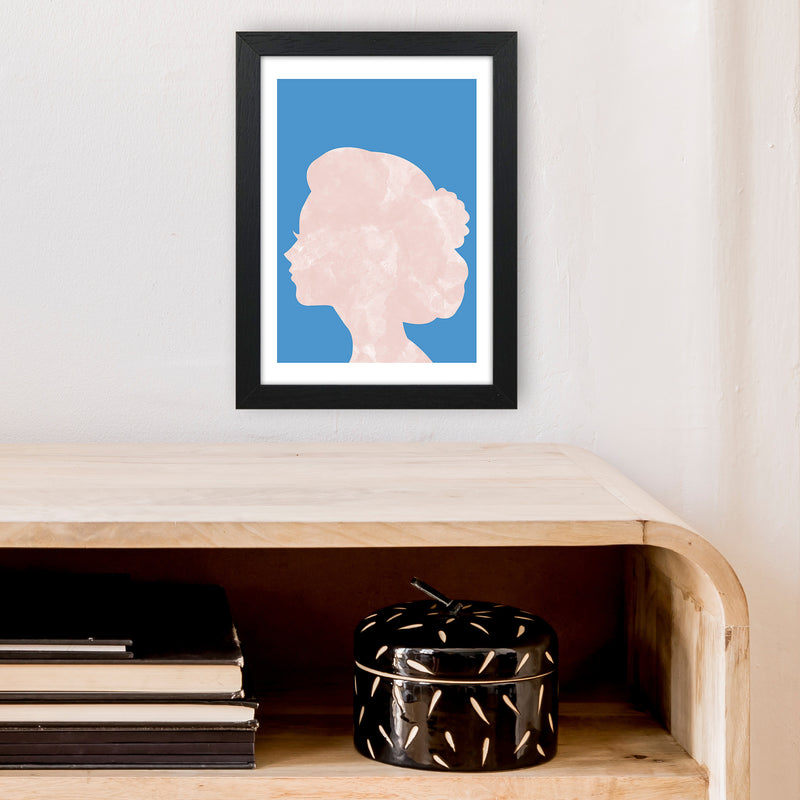 Marble Head Blue  Art Print by Pixy Paper A4 White Frame