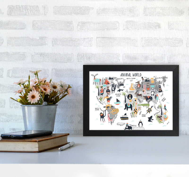 Animal World Map  Art Print by Pixy Paper A4 White Frame