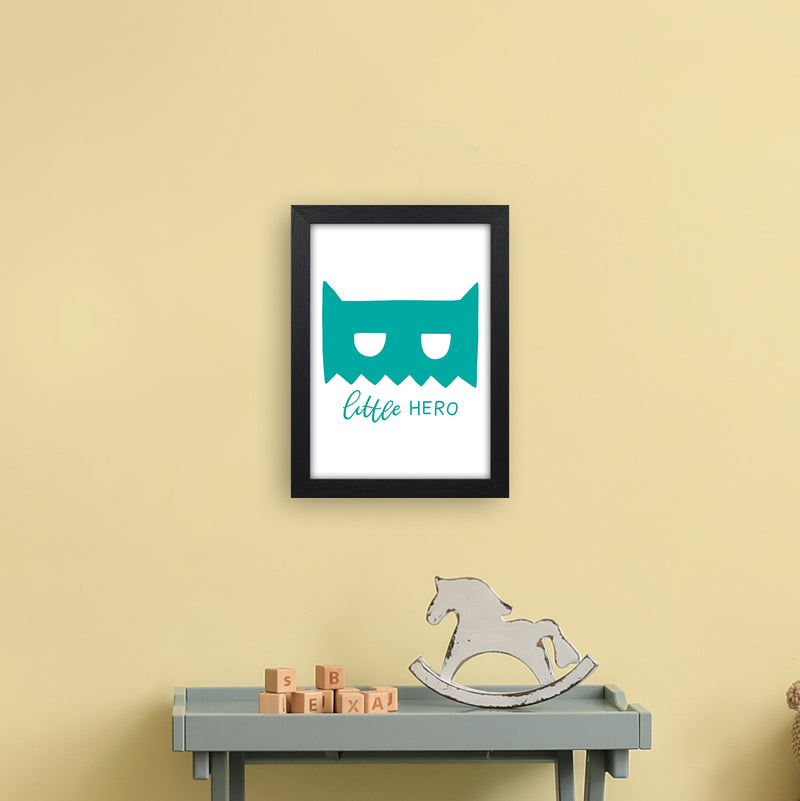 Little Hero Mask Teal Super Scandi  Art Print by Pixy Paper A4 White Frame