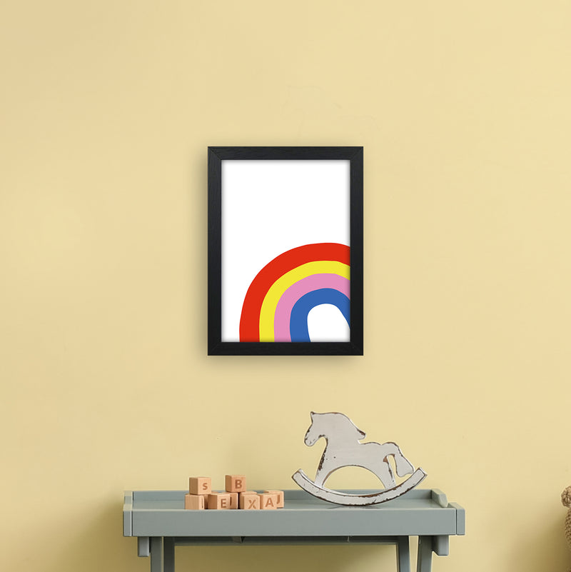 Rainbow In Corner  Art Print by Pixy Paper A4 White Frame