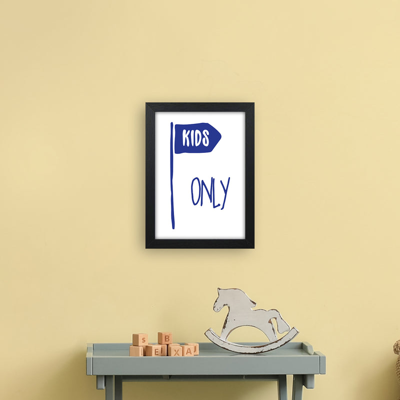 Kids Only Navy  Art Print by Pixy Paper A4 White Frame