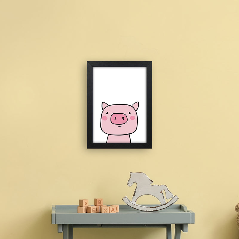 Pig  Art Print by Pixy Paper A4 White Frame