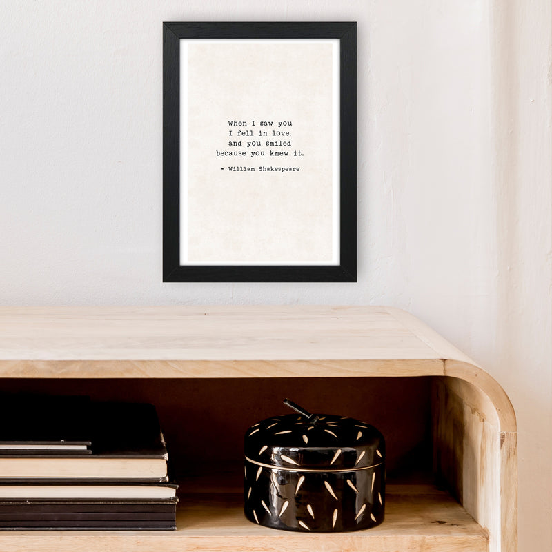 When I Saw You - Shakespeare  Art Print by Pixy Paper A4 White Frame