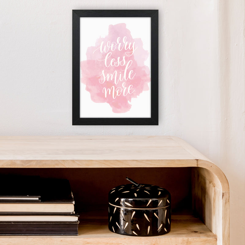 Worry Less Smile More  Art Print by Pixy Paper A4 White Frame
