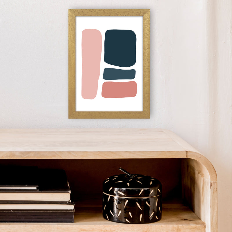 Pink And Navy Abstract Stones 3 Art Print by Pixy Paper A4 Print Only