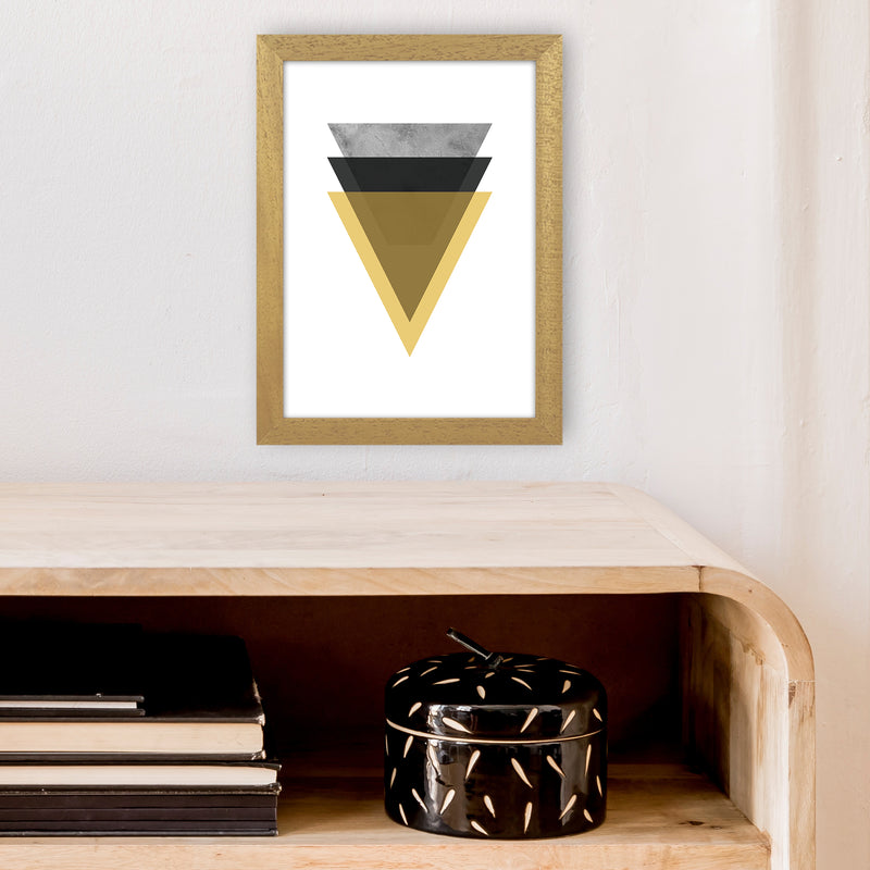 Geometric Mustard And Black Triangles  Art Print by Pixy Paper A4 Print Only