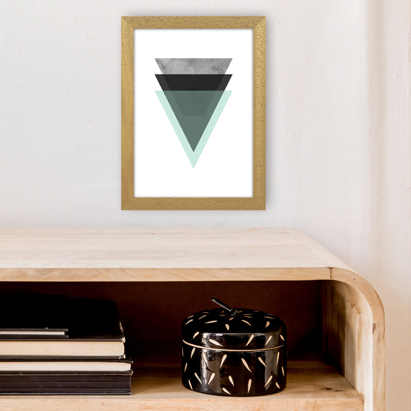 Geometric Mint And Black Triangles  Art Print by Pixy Paper A4 Print Only