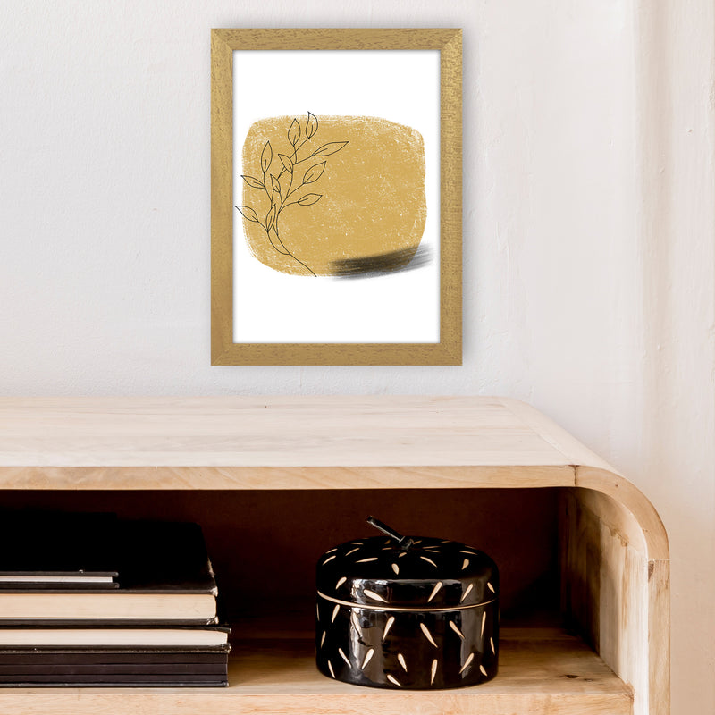 Dalia Chalk Gold Floral Square  Art Print by Pixy Paper A4 Print Only