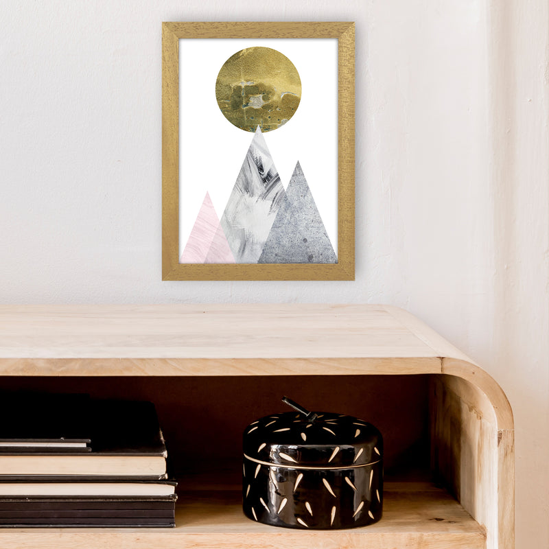 Luna Gold Moon And Mountains  Art Print by Pixy Paper A4 Print Only