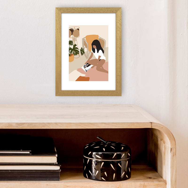 Mica Girl With Magazine N4  Art Print by Pixy Paper A4 Print Only
