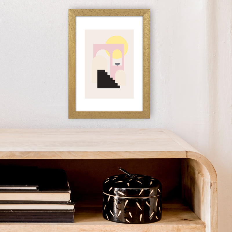 Mila Pink Stairs To Sun N6  Art Print by Pixy Paper A4 Print Only