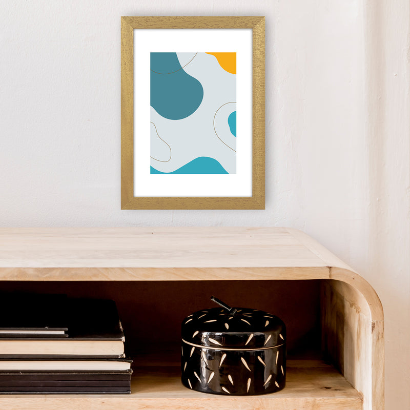 Mita Teal Abstract N16  Art Print by Pixy Paper A4 Print Only