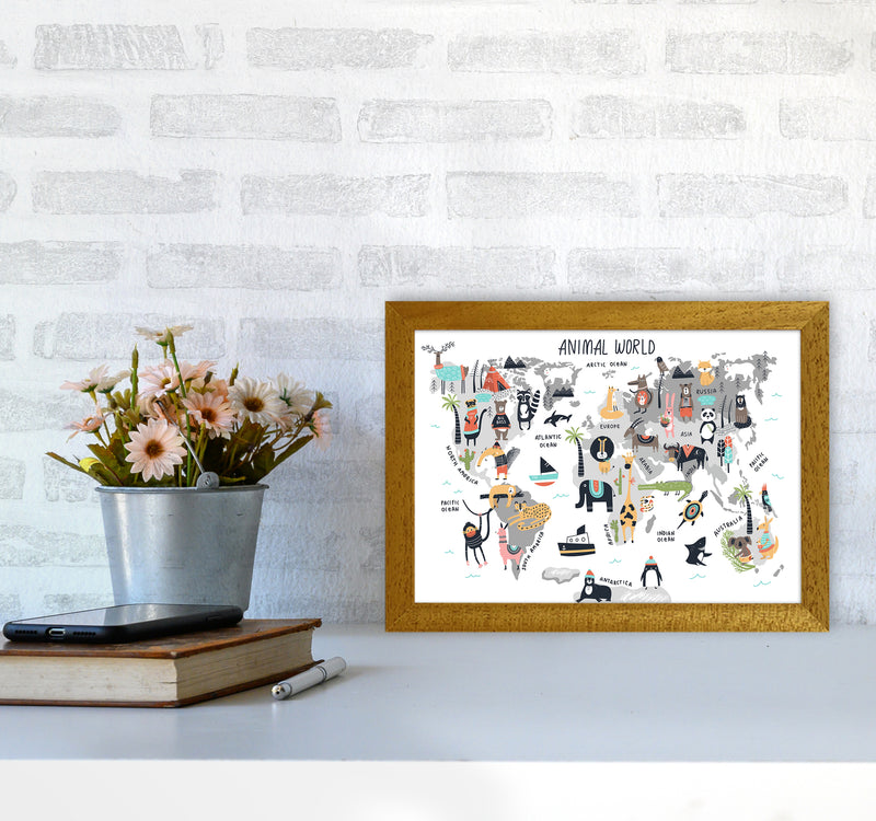 Animal World Map  Art Print by Pixy Paper A4 Print Only