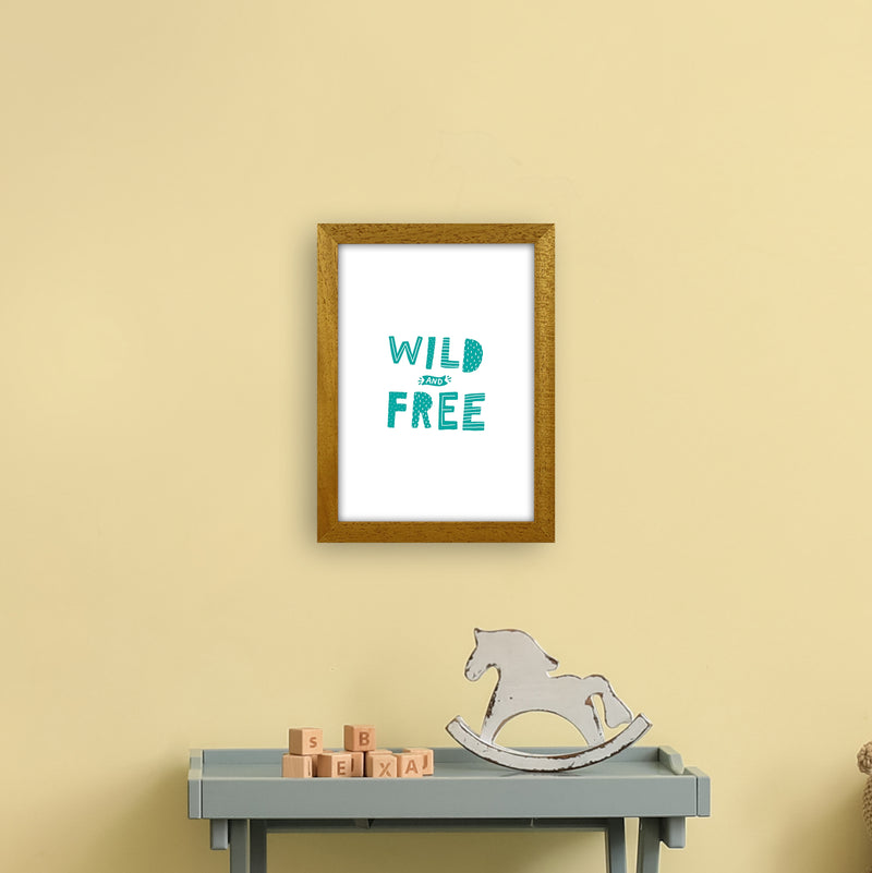 Wild And Free Teal Super Scandi  Art Print by Pixy Paper A4 Print Only
