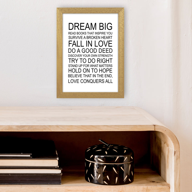Dream Big Inspirational  Art Print by Pixy Paper A4 Print Only