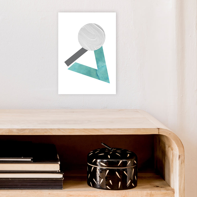 Marble Teal And Silver 3 Art Print by Pixy Paper A4 Black Frame