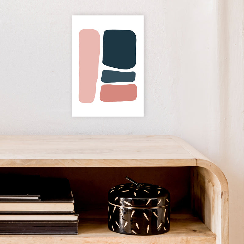 Pink And Navy Abstract Stones 3 Art Print by Pixy Paper A4 Black Frame